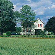 Farm House And Spring Field, Maryland Poster