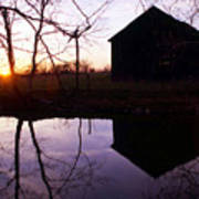 Farm Pond At Sunset Poster
