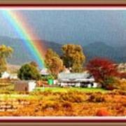 Farm Scene With Rainbow After Some Rains L A With Decorative Ornate Printed Frame. Poster