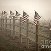 Farm With Fence And American Flags Poster