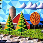 Farm With Three Pines And Cow Poster