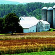 Farm With White Silos Poster
