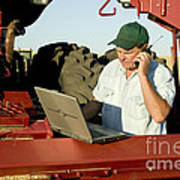 Farmer With Laptop And Cell Phone Poster