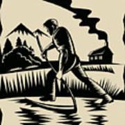 Farmer With Scythe Poster by Aloysius Patrimonio