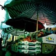 Farmers Market With Striped Umbrellas Poster