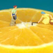Farmers On Orange Poster by Paul Ge