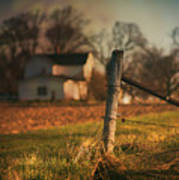 Farmhouse And Fence Post Poster