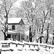 Farmhouse In Winter Poster
