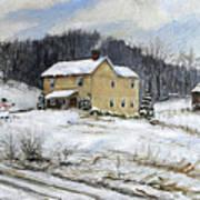 Farmhouse Snowman Poster