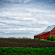 Farming Red Barn On A Quite Spring Day Poster