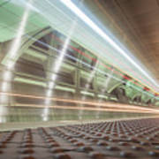 Fast Moving Long Exposure Of Subway Train Underground Tunnel Poster