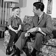 Father And Son Talking And Smiling Poster