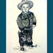 Father's Day Card - Little Buckaroo Poster by Carmen Del Valle