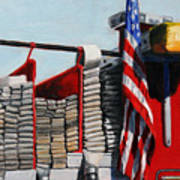 FDNY ENGINE 59 American Flag Poster