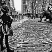 Fearless Girl And Wall Street Bull Statues 3 Bw Poster