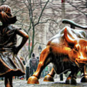 Fearless Girl And Wall Street Bull Statues Poster