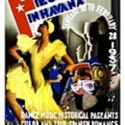 February Fiestas In Havana - Woman Dancing At Carnaval - Retro Travel Poster - Vintage Poster Poster
