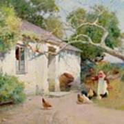 Feeding The Hens Poster by Arthur Claude Strachan