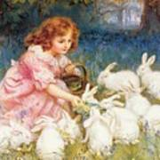 Feeding The Rabbits Poster by Frederick Morgan
