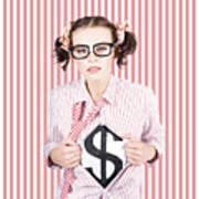 Female Business Superhero Showing Dollar Sign Poster