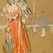 Female Figure In Red Poster