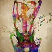 Female Guitarist Poster