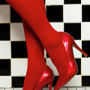 Female Legs In Red Pantyhose And Shoes On High Heels On A Background Poster