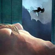 Femme Oiseau Montagne Poster