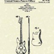 Fender Bass Guitar 1960 Patent Art Poster by Prior Art Design