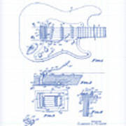Fender Guitar Patent Drawing Poster