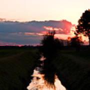 Fenland Sunset Poster