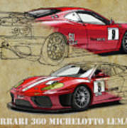 Ferrari 360 Michelotto Le Mans Race Car. Two Drawings One Print Poster