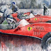 Ferrari Dino 246 F1 1958 Mike Hawthorn French Gp  Poster by Yuriy  Shevchuk