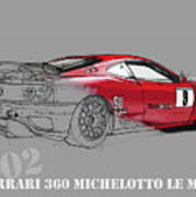 Ferrari Michelotto Race Car. Handmade Drawing. Number 9 Le Mans Poster