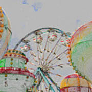 Ferris Wheel And Balloons Poster