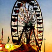 Ferris Wheel At Night Poster