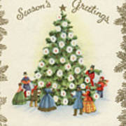 Festive Christmas Tree In A Town Square Poster