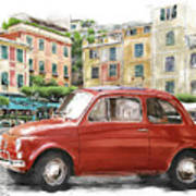 Fiat 500 Classico Poster by Michael Doyle