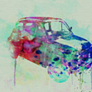 Fiat 500 Watercolor Poster
