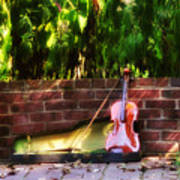 Fiddle On The Garden Wall Poster