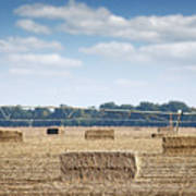 Field With Straw Bale And Center Pivot Sprinkler System Agricult Poster
