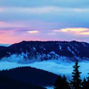 Fiery Sunrise From Mt. Hood Poster