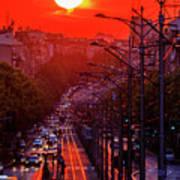 Fiery Sunset In Belgrade Belgradehenge Poster
