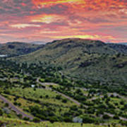 Fiery Sunset Panorama Over Davis Mountains State Park - Keesey Canyon Blue Mountain Limpia Canyon - Poster