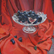 Figs And Grapes On Red  Poster