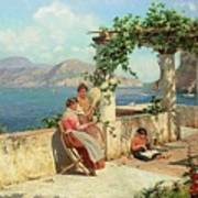 Figures On A Terrace In Capri Poster