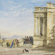 Figures On A Terrace With Greyhounds Poster