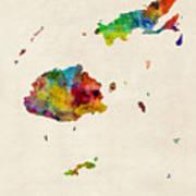 Fiji Watercolor Map Poster