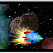 Film Frame With Asteroid And Rocket Poster