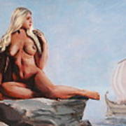 Fine Art Female Nude Jennie As Seanympth Goddess Multimedia Painting Poster